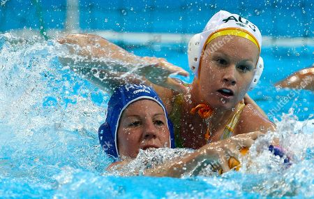 Rowie Webster, Orsolya Takacs Rowie Webster, right, of Australia defends against Orsolya Takacs of Hungary during the bronze medal women's water polo match at the 2012 Summer Olympics, in London