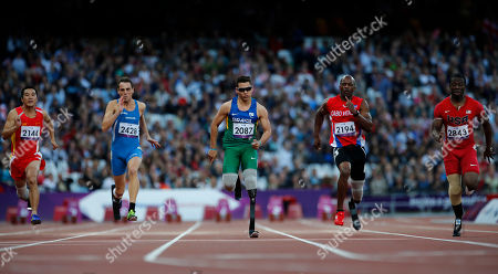 Alan Fonteles Cardoso Oliveira Brazil's Alan Fonteles Cardoso Oliveira, center, runs next to other athletes during the Men's 100m T44 round 1 at the 2012 Paralympics in London