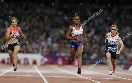 France's Mandy Francois-Elie, left, competes with Britain's Katrina Hart, right, and Germany's Maria Seifert, left, in the women's 100m T37 final at the 2012 Paralympics, in London