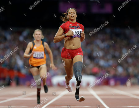 United States' April Holmes competes at a women's 100m T44 round 1 race at the 2012 Paralympics in London
