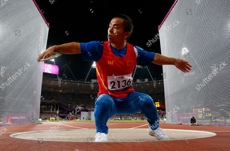 Stock Picture of China's Fan Chengcheng spins to throw in the men's discus throw F40 category during the athletics competition at the 2012 Paralympics, in London