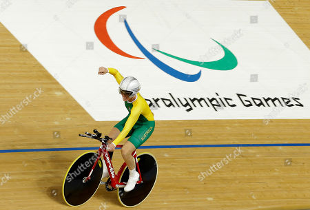 Susan Powell of Australia celebrates her gold medal after winning the Women's Individual C4 pursuit in the velodrome at the 2012 Paralympics games, in London