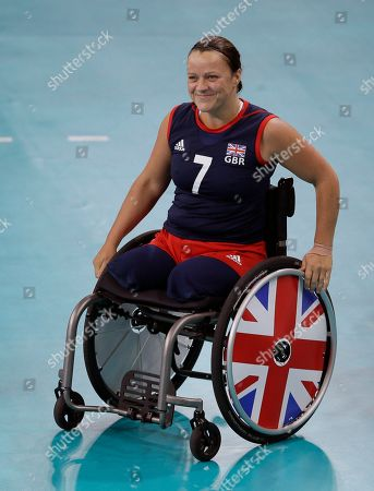 Britain's Martine Wright arrives on court ahead of the Britain versus Netherlands sitting volleyball preliminary match at the 2012 Paralympics, in London. Netherlands won the match