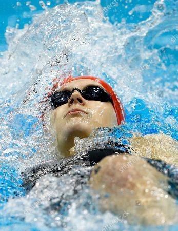 Britain's Hannah Russell competes in the women's 100m Backstroke S12 event at the 2012 Paralympics, in London