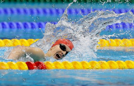 Britain's Hannah Russell competes in the women's 400m Freestyle S12 category at the 2012 Paralympics, in London. Hannah won the silver medal