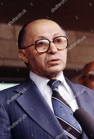 Israeli Prime Minister Menachem Begin on June 1981 during one of his many press conferences at the end of a cabinet meeting