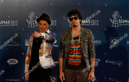 Emmanuel Horvilleur, left, and Dante Spinetta of Illya Kuryaki & The Valderramas pose for pictures during the Lunas del Auditorio Nacional awarding ceremony in Mexico City
