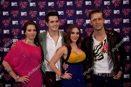 """Mexican actors Iliana Gomez, left, Martin Barba, second from left, Kendra Santa Cruz, second from right, and Mauricio Henao, pose during a photocall to promote MTV new thriller """"Ultimo Ano,"""" or """"Last Year"""" at a hotel in Mexico City"""