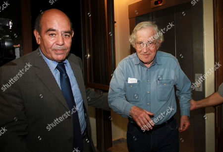 Jewish-American scholar and activist Noam Chomsky and Raji Sourani, lawyer and director of the Palestinian Center for human rights arrive for a meeting with Palestinian youth activists in Gaza City, . Chomsky crossed from Egypt yesterday for his first visit to Gaza