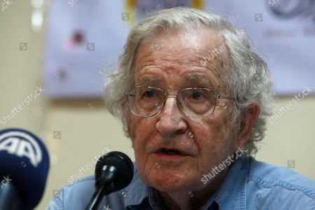 Jewish-American scholar and activist Noam Chomsky talks during his meeting with Palestinian youth activists in Gaza City, . Chomsky crossed from Egypt yesterday for his first visit to Gaza