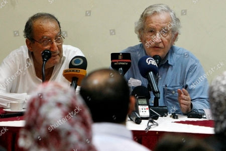 Gaza psychiatrist and prominent Palestinian human rights campaigner Dr. Eyad Sarraj, left, listens to Jewish-American scholar and activist Noam Chomsky, right, during a meeting with Palestinian youth activists at Almathaf hotel in Gaza City. Relatives say Sarraj has died after a long battle with leukemia. He was 69. Trained in Egypt and Britain, Sarraj established a community mental health program in Gaza in 1990 before becoming a human rights defender. In that role, he took on both Israel and the Palestinian self-rule government, and his biography says he was jailed by both. Sarraj won international recognition, including the Olof Palme Prize awarded by Sweden's labor movement