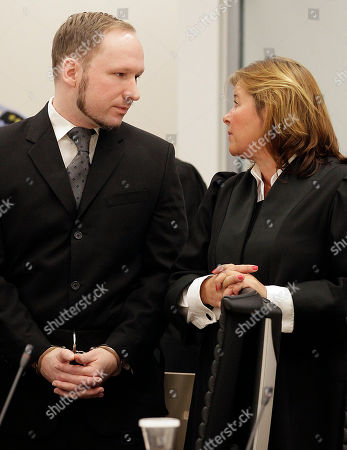 Stock Picture of Anders Behring Breivik Mass murderer Anders Behring Breivik, talks to his lawyer Vibeke Hein Baera, right, in the courtroom in Oslo . Breivik was convicted Friday of terrorism and premeditated murder for bomb and gun attacks that killed 77 people and sentenced to a special prison term that would allow authorities to keep him locked up for as long as he is considered dangerous