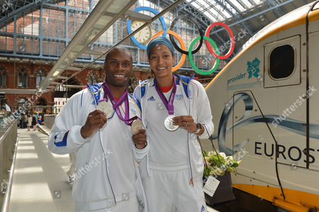 Eurostar waves farewell to the French Olympic track cyclist Gregory Bauge and basket ball player Emmeline Ndongue at St. Pancras International in London, UK, on