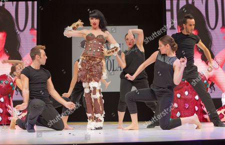 Stock Image of Tara Mcdonald British's Singer Tara Mcdonald presents a chocolate studded dress, designed by designer Valerie Pache and made with the help of French chocolate maker Stephane Bonnat during the chocolate dress fashion show, as part of the 18th World Chocolate Fair, presented in Paris