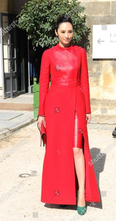 Pace Wu arrives for Valentino's ready to wear Spring-Summer 2013 collection, presented in Paris, Tuesday, Oct.2, 2012