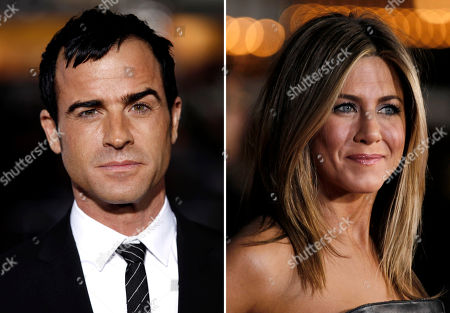 S shows Justin Theroux, left, and Jennifer Aniston. Aniston's rep, Stephen Huvane, on confirmed to The Associated Press that Theroux and the actress are engaged. It was first reported by People.com