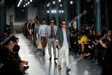 Models display creations by American designer Michael Bastian during the Portugal Fashion Spring/Summer 2013 week, in Porto, Portugal