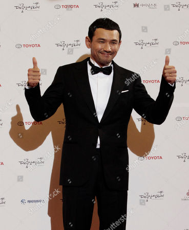 Stock Photo of Hwang Jeong-min South Korean actor Hwang Jeong-min poses for a photo call during the Daejong Film Festival in Seoul, South Korea