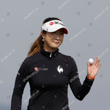 Kim Ha-neul Kim Ha-neul of South Korea shows her ball after a putt on the 7th green during the second round of the LPGA Championship golf tournament at Sky72 Golf Club in Incheon, west of Seoul, South Korea
