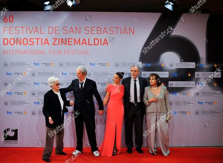 Stock Photo of Claudia Cardinale, Fernando Trueba, Aida Folch, Chus Lampreave Italian actress Claudia Cardinale, right, arrives at the cinema to promote her film '' The Artist and The Model '' with other cast and crew members, 2nd right to left: Spanish film director Fernando Trueba, Spanish actresses Aida Folch, French actor Jean Rochefort and Chus Lampreave, at the 60th San Sebastian Film Festival, in San Sebastian northern Spain