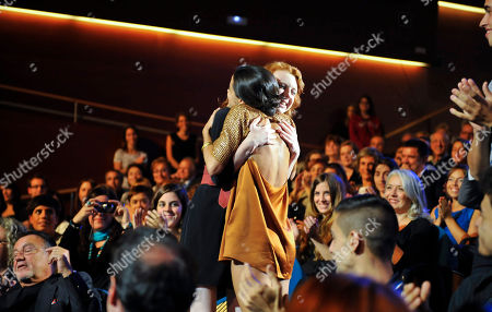 Macarena Garcia, Katie Coseni Spanish actress Macarena Garcia, right, and Canadian actress Katie Coseni, celebrate after the announcement of their Silver Shell Award for Best Actresses, at the 60th San Sebastian Film Festival, in San Sebastian northern Spain