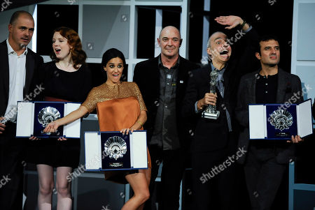 Macarena Garcia, Katie Coseni, Pablo Berger, Javier Rebollo Spanish actress Macarena Garcia, third left, celebrates with Canadian actress Katie Coseni, 2nd left, after receiving the Silver Shell Award for Best Actresses, beside Spanish film director Pablo Berger, second right, next to Spanish film director Javier Rebollo, at the 60th San Sebastian Film Festival, in San Sebastian northern Spain