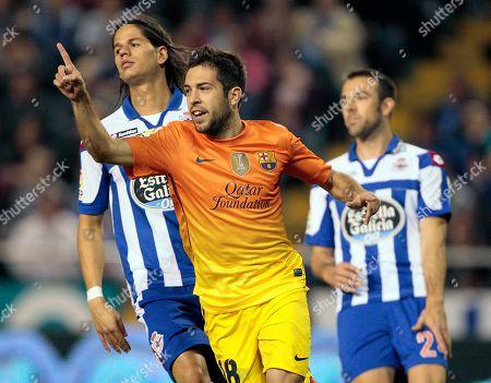Carlos Marchena, Ze Castro, Jordi Alba FC Barcelona's Jordi Alba, center, celebrates his goal as Deportivo la Coruna's Ze Castro, left, and Carlos Marchena, right, react during a Spanish La Liga soccer match at the Riazor stadium in La Coruna, Spain