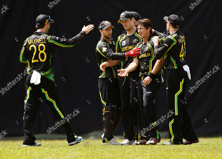 Brad Hogg Australia team's cricketers congratulate their bowler Brad Hogg, second from right, for taking the wicket of England's Craig Kieswetter, unseen, during their warm-up match ahead of the ICC Twenty20 Cricket World Cup in Colombo, Sri Lanka, . The tournament starts Sept. 18