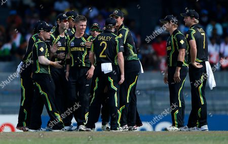 Xavier Doherty Australian team members congratulate bowler Xavier Doherty, third left, for taking the wicket of South African batsman Jacques Kallis, unseen, during the ICC Twenty20 Cricket World Cup Super Eight match between Australia and South Africa in Colombo, Sri Lanka