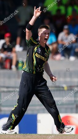 Xavier Doherty Australia's bowler Xavier Doherty celebrates the dismissal of South Africa's batsman Richard Levi, unseen during a ICC Twenty20 Cricket World Cup Super Eight match between South Africa and Australia in Colombo, Sri Lanka