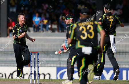 Xavier Doherty Australia's bowler Xavier Doherty, left, celebrates the dismissal of South Africa's batsman Jacques Kallis, unseen, during a ICC Twenty20 Cricket World Cup Super Eight match between South Africa and Australia in Colombo, Sri Lanka