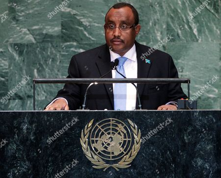 Stock Image of Abdiweli Mohamed Ali Somali Prime Minister Abdiweli Mohamed Ali addresses the 67th session of the United Nations General Assembly at U.N. headquarters