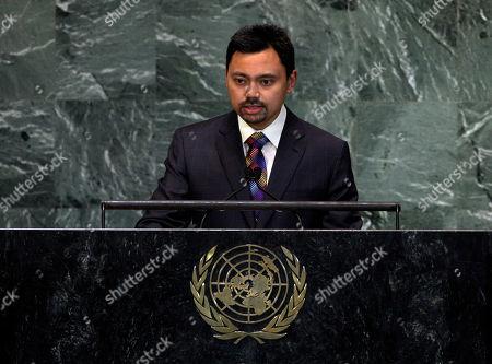 Haji Al-Muhtadee Billah Prince Haji Al-Muhtadee Billah, Crown Prince of Brunei Darussalam, addresses the 67th session of the United Nations General Assembly at U.N. headquarters