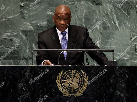 Stock Photo of Tom Thabane Lesotho's Prime Minister Tom Thabane addresses the high level meeting on rule of law in the United Nations General Assembly