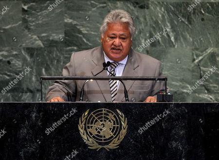 Tuilaepa Aiono Sailele Malielegaoi Prime Minister and Foreign Minister of Samoa Tuilaepa Aiono Sailele Malielegaoi addresses the high level meeting on rule of law in the United Nations General Assembly at U.N. headquarters