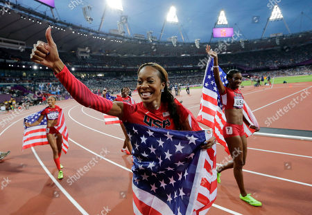 United States' Deedee Trotter, right, Sanya Richards-Ross, front center, and Allyson Felix, back left, celebrate winning gold in the women's 4x400-meter relay final during the athletics in the Olympic Stadium at the Summer Olympics in London. Reigning Olympic 400-meter champion Richards-Ross is retiring after the 2016 Rio de Janeiro Olympics