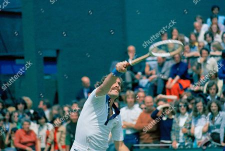 Australian tennis star John Newcombe is pictured in action at Wimbledon, June 1974