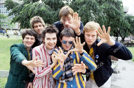 Stock Image of Boomtown Rats - Pete Briquette, Gerry Cott, Simon Crowe, Johnnie Fingers, Bob Geldof and Garry Roberts
