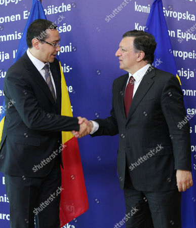 Jose Manuel Barroso, Victor-Viorel Ponta European Commission President Jose Manuel Barroso, right, welcomes Romania's Prime Minister Victor-Viorel Ponta at the European Commission headquarters in Brussels, . Romania's prime minister was meeting with top EU officials Thursday to explain the president's impeachment by parliament, after the EU raised concerns about the hurried manner in which the ouster was carried out