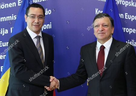 Jose Manuel Barroso, Victor-Viorel Ponta European Commission President Jose Manuel Barroso, right, welcomes Romania's Prime Minister Victor-Viorel Ponta, at the European Commission headquarters in Brussels, . Romania's prime minister was meeting with top EU officials Thursday to explain the president's impeachment by parliament, after the EU raised concerns about the hurried manner in which the ouster was carried out