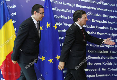 Jose Manuel Barroso, Victor-Viorel Ponta European Commission President Jose Manuel Barroso, right, ushers Romania's Prime Minister Victor-Viorel Ponta upon arrival, at the European Commission headquarters in Brussels, . Romania's prime minister was meeting with top EU officials Thursday to explain the president's impeachment by parliament, after the EU raised concerns about the hurried manner in which the ouster was carried out