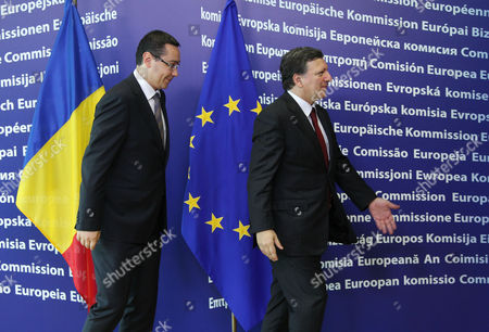 Jose Manuel Barroso, Victor-Viorel Ponta European Commission President Jose Manuel Barroso, right, ushers Romania's Prime Minister Victor-Viorel Ponta upon his arrival at the European Commission headquarters in Brussels, . Romania's prime minister was meeting with top EU officials Thursday to explain the president's impeachment by parliament, after the EU raised concerns about the hurried manner in which the ouster was carried out