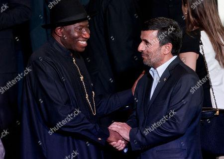 Mahmoud Ahmadinejad, Goodluck Ebele Jonathan Iran President Mahmoud Ahmadinejad, right, shakes hands with Nigeria's President Goodluck Ebele Jonathan, left, before the group photo at the United Nations Conference on Sustainable Development, or Rio+20, in Rio de Janeiro, Brazil, . The Earth summit runs through June 22