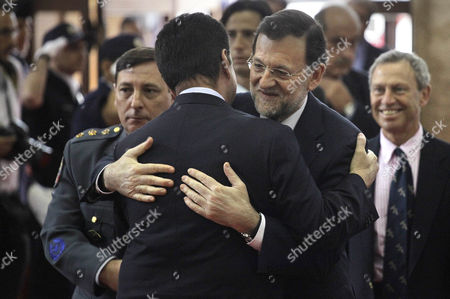 Mariano Rajoy, Gilberto Kassab Sao Paulo's Mayor Gilberto Kassab, back to camera, hugs Spain's Prime Minister Mariano Rajoy as Rajoy arrives for a meeting in Sao Paulo, Brazil, . Rajoy is on a two-day official visit to Brazil