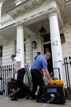 Police investigation officers arrive at the home of Britain's richest women, American-born Eva Rausing who was found dead in her home in Belgravia, London, . American-born Eva Rausing, was found dead in her west London home and a man was arrested in connection with the case, British police said, adding that an autopsy had failed to uncover a formal cause of death