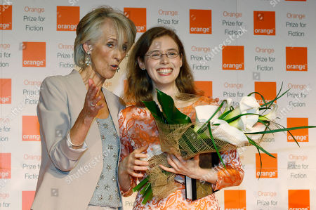 American author Madeline Miller, right, poses for pictures wiyh Joanna Trollope, left, the chair of the judges of the 2012 Orange for Fiction award in London's Royal Festival Hall, . Miller won the prestigious book award with her book 'The Song of Achilles