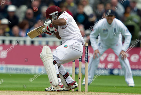 Adrian Barath West Indies' Adrian Barath is hit by a ball from England's Steven Finn during the 3rd day of the third Test match at Edgbaston cricket ground, Birmingham, England