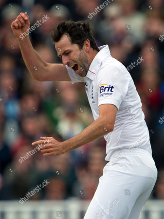 Stock Photo of Graham Onions England's Graham Onions celebrates after claiming the wicket of West Indies' Adrian Barath during the 3rd day of the third Test match at Edgbaston cricket ground, Birmingham, England