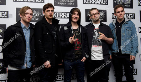 Conor O'Keefe, Ben Tovey, Austin Dickinson, Will Homer, Adam Lewin, Rise To Remain Conor O'Keefe, Ben Tovey, Austin Dickinson, Will Homer and Adam Lewin of Rise To Remain arrive for the Kerrang Awards 2012, at a central London venue