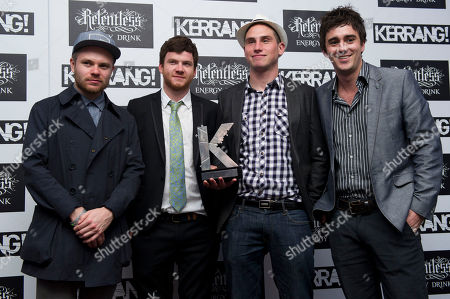 Peter Wafzig, Rory Clewlow, Rob Rolfe, Chris Batten, Enter Shikari Peter Wafzig, Rory Clewlow, Rob Rolfe and Chris Batten of Enter Shikari with their Best Live Band at the Kerrang Awards 2012, at a central London venue